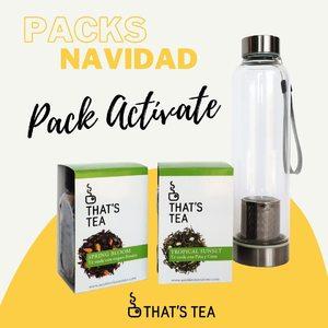 Pack Actívate👇🏻 • Té Tropical: té verde con piña y coco 🍍🌴🥥  • Té Spring: té verde con flores 🌺🌸🌼 • Botella infusora con funda de neopreno🍶
